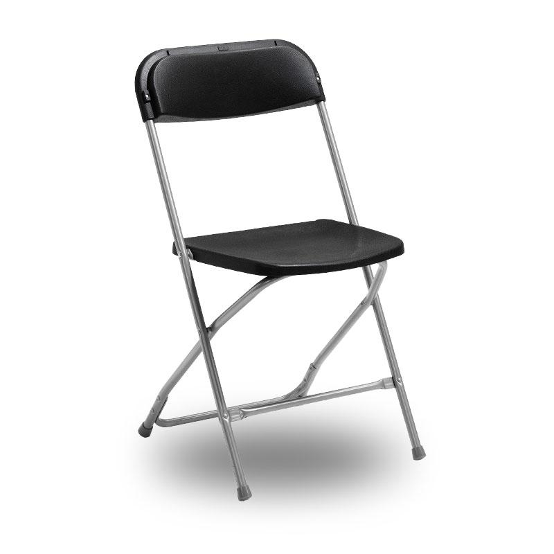 Klappstol med svart sits och silvergrått stativ