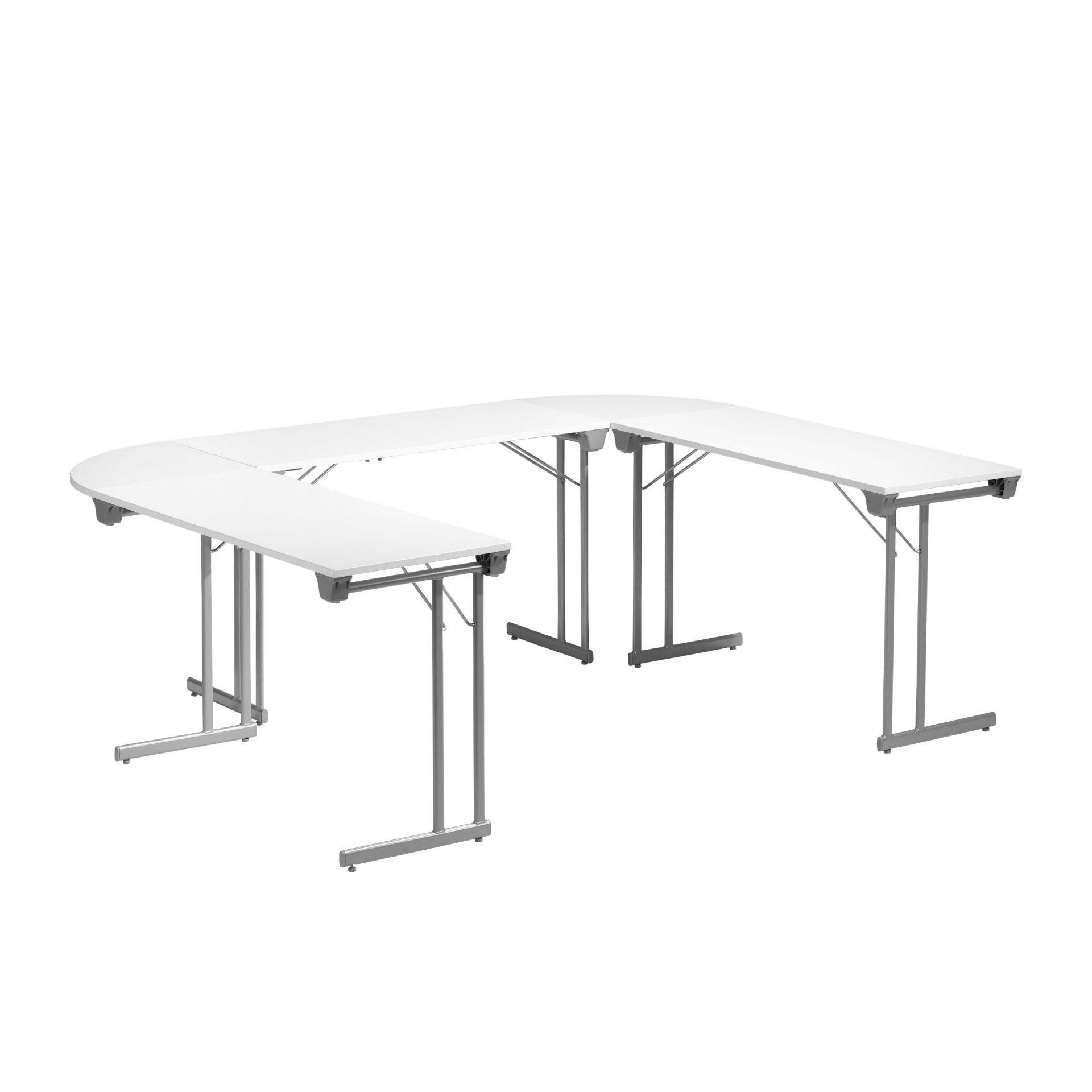 bord med vit skiva och silvergrått stativ