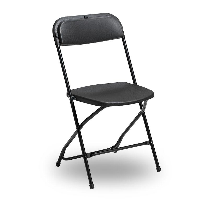 svart plaststol